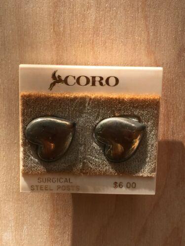 Vintage Signed Coro Silver Color Heart Stud Earrings for Pierced Ears - on card