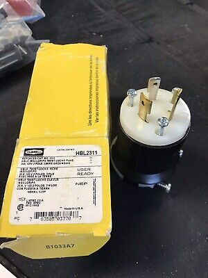 Hubbell HBL2311 20a 125v 2 Pole 3 Wire Grounding Twist Lock Plug New In Box