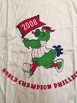 Philly Phanatic World Series (PHANATIC WORLD CHAMPION PHILLIES 2008 MLB WHITE TEE SHIRT LARGE FAST SHIPPING )