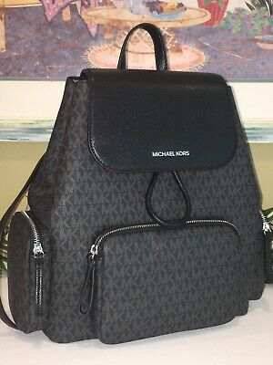 MICHAEL KORS ABBEY LARGE CARGO BACKPACK BLACK MK SIGNATURE BAG SILVER $498