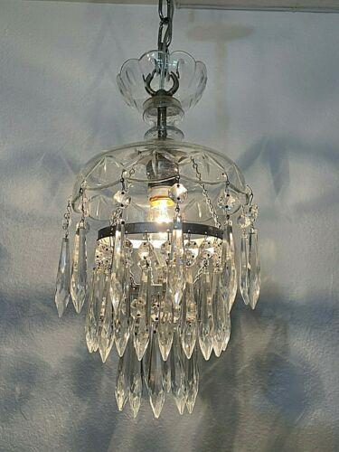 Vintage 1940s Crystal Wedding Cake Style Chandelier Pendant