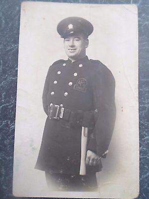 Rare Vintage RPPC A.F.S. Auxiliary Fire Service Man Leeds  Postally Unused  §D83