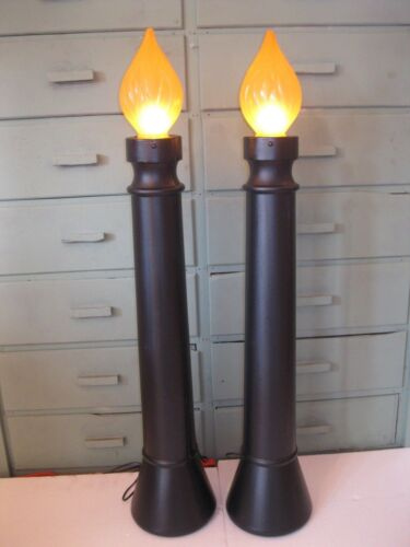 """Blow Mold Halloween Black and Orange Lighted Candles Union Products Pair 40"""""""