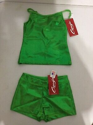 Child Capezio Dance Cami Top Boy Cut Shorts Set Metallic Lime Green Intermediate ()