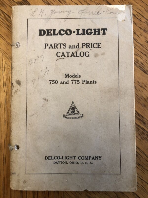Delco Light Parts And Price Catalog Models 750 755 Plants