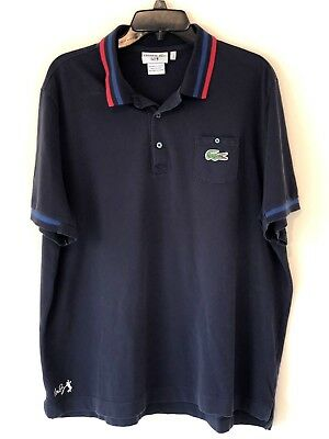 5ed755080 LACOSTE Mens 7 Extra Large Navy Blue Andy Roddick Autograph Polo Tennis  Shirt