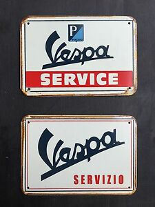 Vespa Service & Servizio - Vintage&Retro Garage Metal Sign 16x12 Cm ( set of 2 )