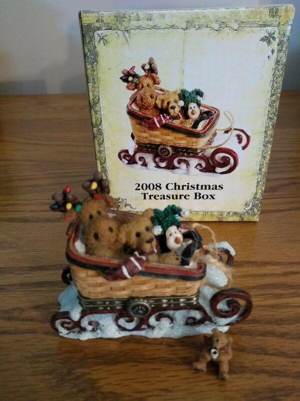 Boyds Longaberger 2008 CHRISTMAS Treasure Box Moose in Sleigh-  New in Box