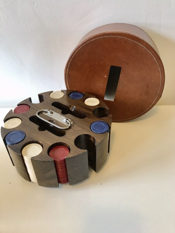 Vintage Wood Poker Chip Caddy Carousel With 250+ Clay Composite Chips & Cover