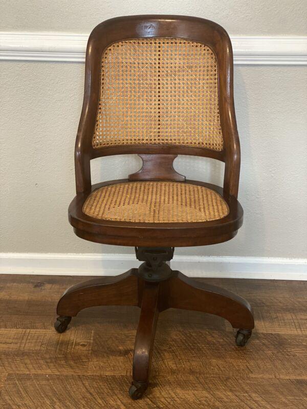 Antique chair cane wood banker lawyer desk office rolling, swivel, adjustable