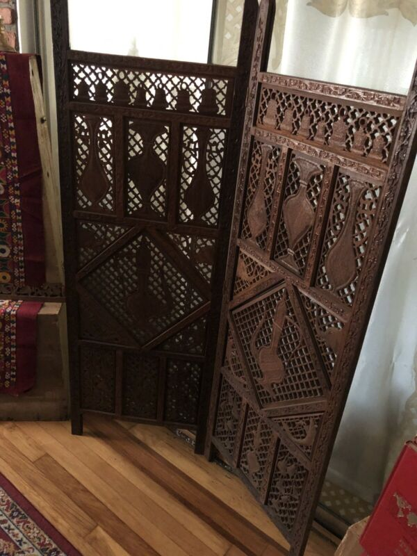 New Antique 2 Panel Handcarved Teak Wood Screen 1950's -IMPORTED