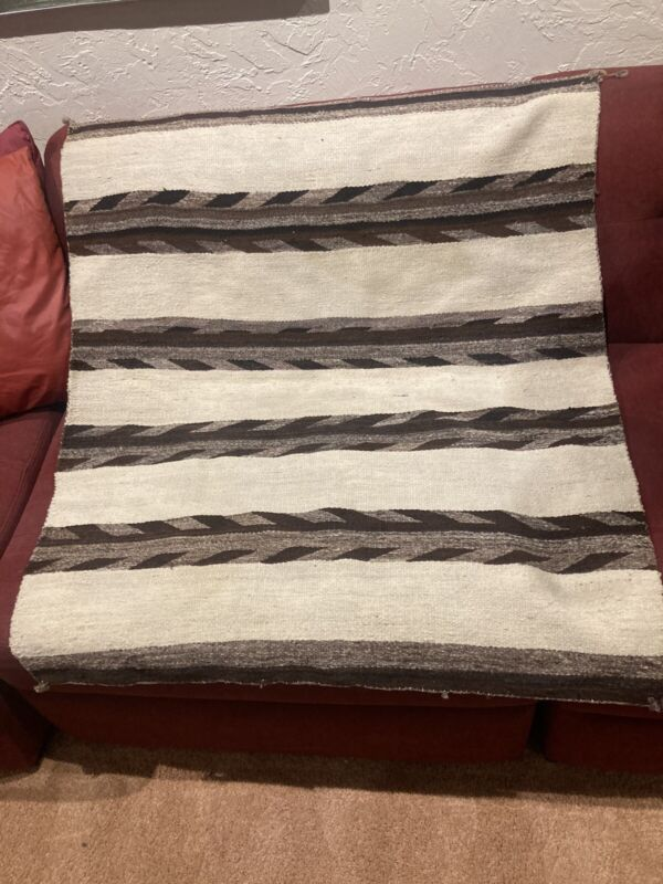 Auth: 20s Antique American Indian Navajo Rug / Blanket 36 X 40 Estate Beauty