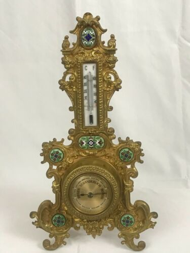"""Decorative German Thermometer and Barometer on Easel Stand. 19th Century 16"""" H"""