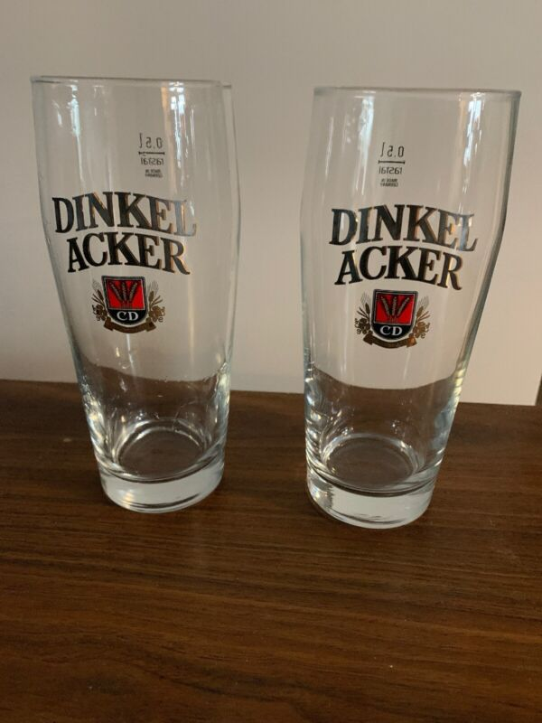 DINKEL ACKER BEER GLASS SET OF 2 MADE IN GERMANY