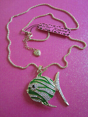 Betsey Johnson Green Angel Fish Necklace Angel Fish Necklace