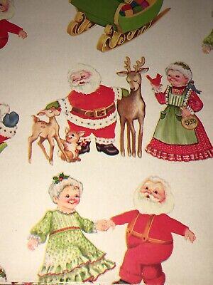 VTG CHRISTMAS WRAPPING PAPER GIFT WRAP 1960 ADORABLE MR & MRS SANTA SLEIGH NOS