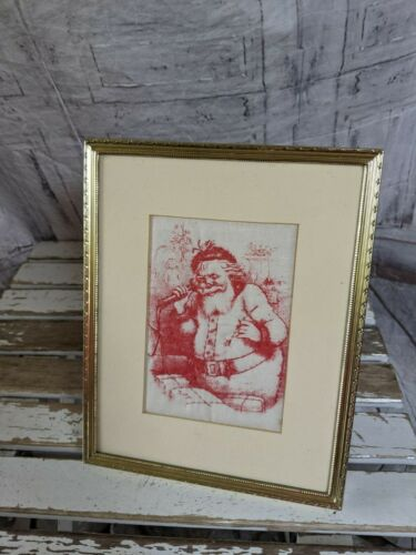 Santa Christmas picture frame cloth vintage red white