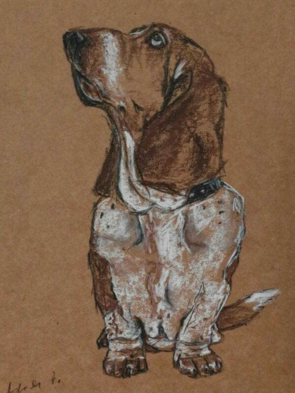 Basset+Hound+Dog+Drawing+On+A4+Brown+Paper+Mixed+Media+Art+Original+Pet+Portrait