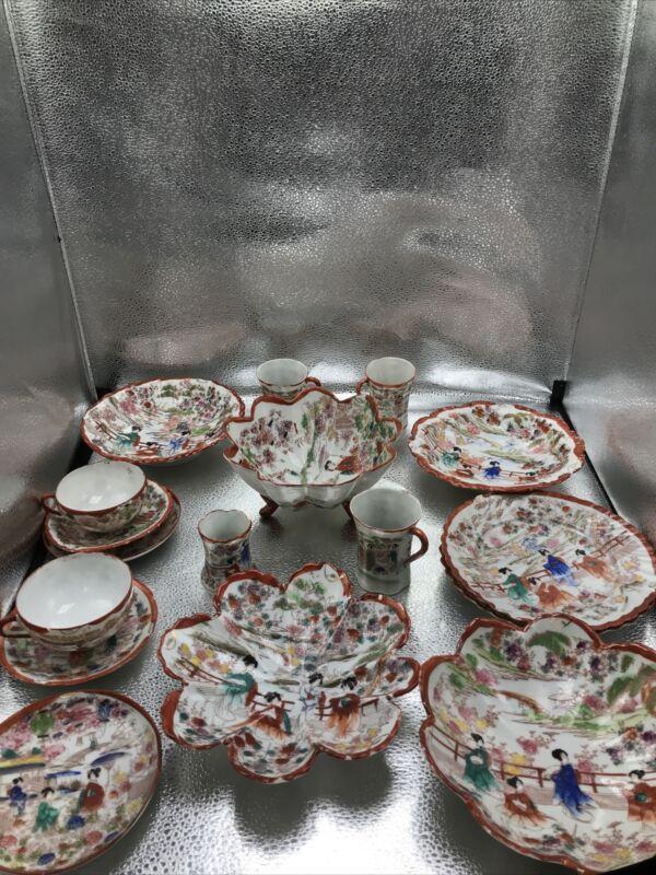 Antique 17 pc. Japanese Kutani Geisha Girls Set, Hand Painted Eggshell China