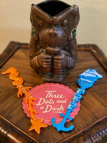 SOLD OUT Three Dots Dash Keko Pepeiao Monkey Tiki Mug Coaster Swizzle Stick HTF
