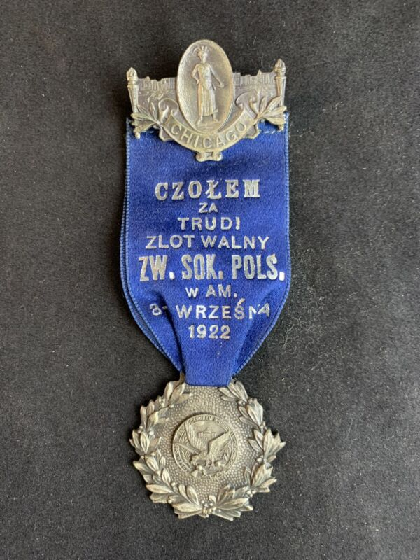 Vintage 1922 Polish American National Convention Lapel Pin Medal