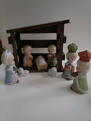 Vintage Christmas Children Kid Porcelain Nativity Scene Set Wood Stable Creche