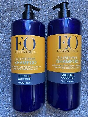 EO Essentials All Natural Coconut & Citrus Shampoo 32 oz. Sulfate FREE Lot of 2 Eo Coconut Shampoo