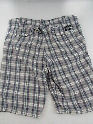 Superdry Medium Blue & White Plaid Check 'Core' Cotton Cargo Shorts