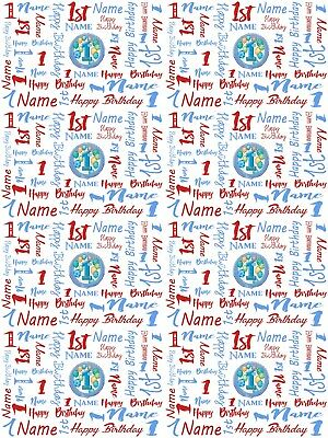 1st Birthday Personalised Gift Wrapping Paper Choose Colour ADD NAME