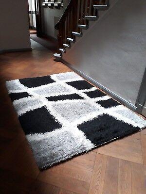 Schwarz Und Weiß Moderne Teppich (Schwarz und Weiß Muster Teppiche (165 x 222cm))
