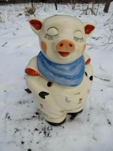 Shawnee SMILEY Pig Cookie Jar with Gold Paint, Decals ,Blue Scarf