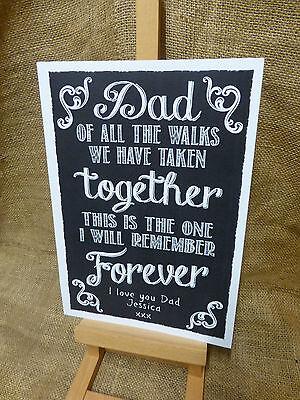 PERSONALISED chalkboard style FATHER OF BRIDE aisle sign WEDDING KEEPSAKE GIFT