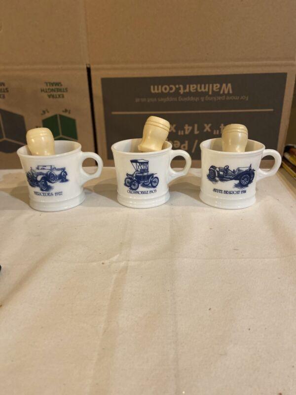 vintage Surrey Milk Glass Shaving Mugs With Brushes Lot of 3