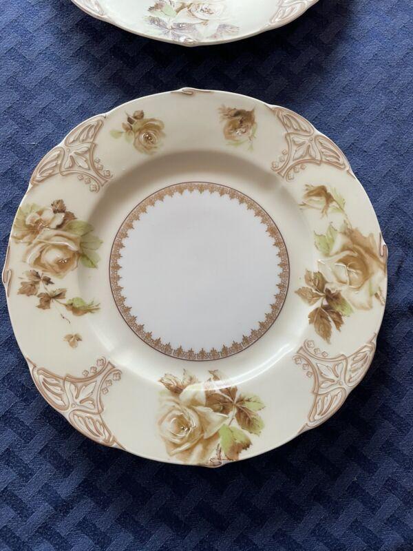"RARE: OHME Old Ivory 6 Dinner Plates, 9 1/2"" Silesia. Beautiful. 1908-1920."
