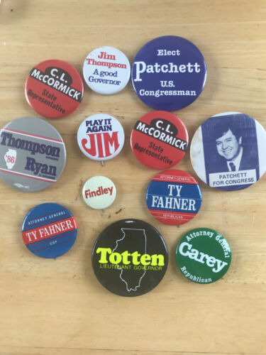Lot of 12 Illinois GOP Buttons Pinback from 1980s