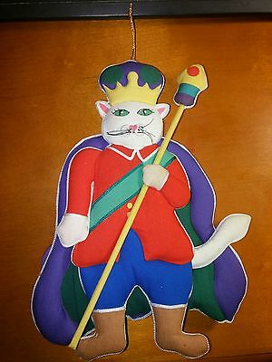 ULTRA RARE VINTAGE? CLOTH LARGE CAT KING PRINCE ORNAMENT Christmas nutcracker