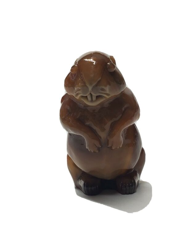 VINTAGE IMPERIAL GLASS BEAVER WOODCHUCK FIGURINE SIGNED COLLECTIBLE GLASSWARE