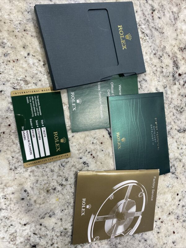 Original Rolex 178274 Guarantee Warranty Card with Booklet & Manual DATEJUST