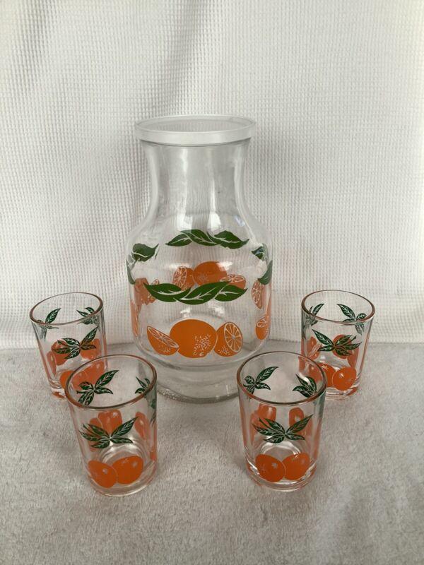Vintage Anchor Hocking Orange Juice Carafe/Decanter & 4 Glasses