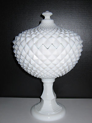 """Large Westmoreland Milk Glass English Hobnail Footed Compote 14"""" Tall"""