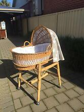 Baby cane bassinet with handles,  hood and a stand with wheels West Croydon Charles Sturt Area Preview