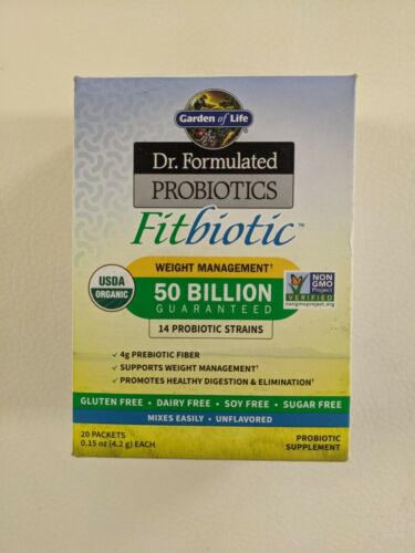 Organic, Dr. Formulated Probiotics Fitbiotic, Unflavored, 20 Packets, 0.15 oz