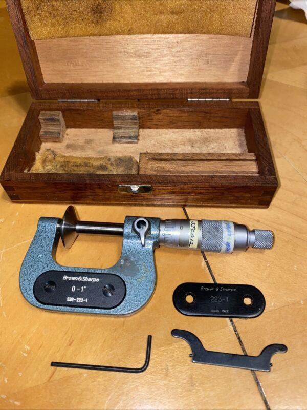 "Brown & Sharpe Flange Disc Micrometer 0-1"" 599-223-1"