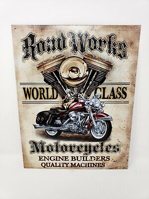 """Road Works World Class Motorcycles Vintage Sign Tin Metal Wall Garage 12.5""""x16"""""""