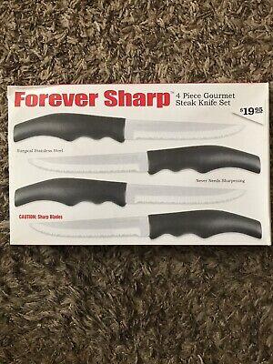 Forever Sharp 4 Piece Gourmet Steak Knife Set BRAND NEW IN BOX (Steak Knife Set)