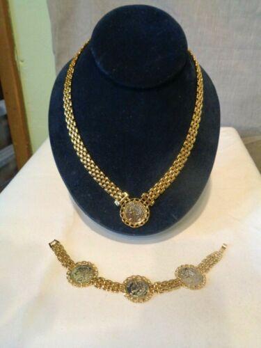 Vintage Blanca Gold Tone Watch link Silver Coin Bracelet & Necklace Set