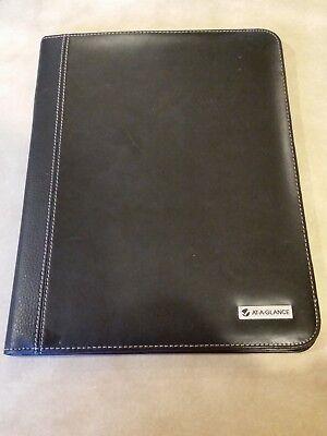 Mead At A Glance Black Leather- Like Portfolio Binder w/ Uni Ball Signo Pen, (At A-glance Pen)