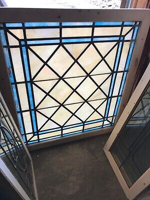 Sg 2960 Antique Stained Glass Landing Or Skylite Window 39.5 X 43.5
