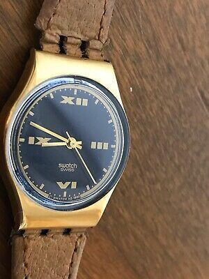 Vintage 1990 Swatch Watch Analog Swiss Gold Tone Wristwatch With New Battery