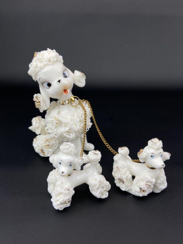 Vintage Napco White & Gold Spaghetti Poodle Dog & Puppies Ceramic Chain 1G2776